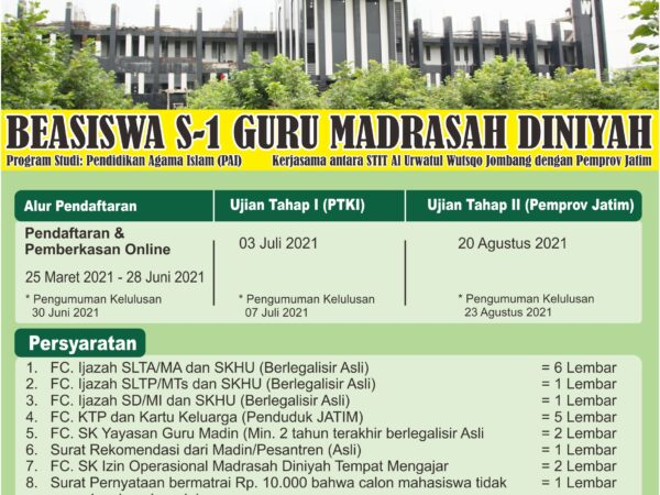 Pendaftaran Beasiswa Guru Madin Tahun Akademik 2021/2022